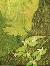 Robyn Hursey pencil signed limited edition lino block engraving; Trillium 1975
