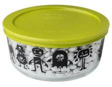 Pyrex Halloween MONSTERS & PUMPKINS 4 Cup Storage Bowl & GREEN Cover Scary Creep
