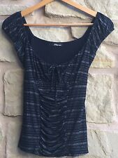 GYPSY BUSTY PEASANT SEXY HIPPY 50s TOP OFF SHOULDER SZ SMALL WOMEN BLACK SILVER