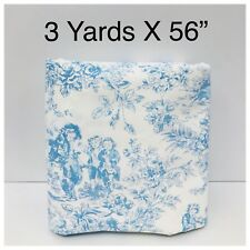 Toile Fabric Light Blue White Pastel Children Boys Playing Games Roses 3 Yd X 56