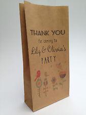 10 X Personalised Kraft Party Bags Children's Goodie Sweet Brown Birthday