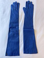 Original DIANE VON FURSTENBURG Blue Nappa Leather Opera Gloves Size 7.5