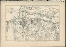 Siege of Sebastapol plan antique vintage lithograph print circa 1890 00478