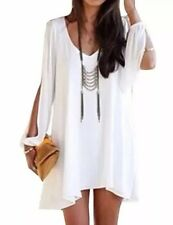 Women's Designer White Cocktail Dress Hi-lo Cold Shoulder Cut Out Sleeve Small