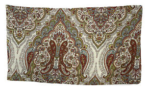 Tahari Home Pillow Sham Paisley White Green Rust King Size Cotton Medallion