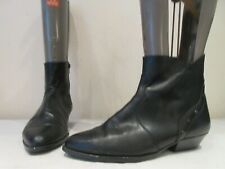 VINTAGE BLACK LEATHER DIAMONTE ZIP UP ANKLE BOOTS UK 8 EU 41 (3490)