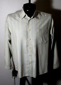 Men's JOHNNIE WALKER Taupe Green Silk & Tencel Shirt Size M