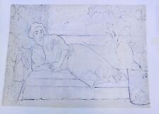Woman in Robe on Couch Mixed Media Drawing-1960-August Mosca