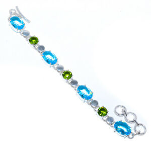"Faceted Blue Topaz & Peridot 925 Sterling Silver Tennis Bracelet 7.99"" S1924"