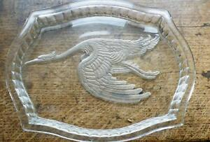 Moulded glass tray by Czech Le-roc with crane image