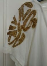 H&M Ladies Cream Short Sleeve T Shirt/Dress Size XS With Gold Beading BNWT