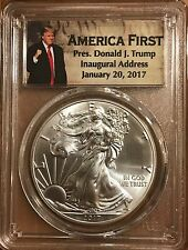 2017 $1 American Silver Eagle PCGS MS70 First Strike - Donald Trump Label