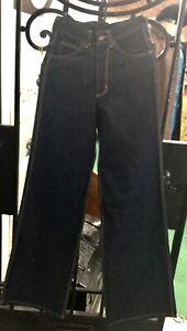Vintage H.A.S.H Jeans Woman's Hippy Wide Leg Bell Bottoms Blue Denim Jeans 26x36