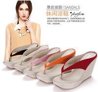 Womens Girls Platform Flip Flops Shoes Muffin Bottom Wedges Flip Sandals Plus Sz