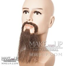 QUALITY Full Beard Brown Mustache Hair Makeup stage Theatrical costume  natural