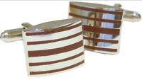 Bold Maroon Mulberry Striped Enamel & Rhodium Plated Cufflinks Cufflinks.Direct