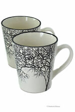 Set 2 Porcelain Large 12oz Black & White Tree Of Life Coffee Mugs Cups