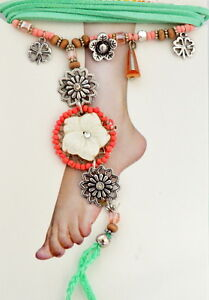 Anklet Toe Ring Ankle Chain Foot Jewellery Fabric/Pearl/ Wood Boho Hippie
