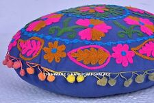Indian Suzani Embroidered Cotton Cushion Cover Ethnic Decorative Home Decor 16""