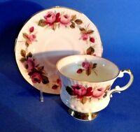 Elizabethan Pedestal Teacup And Saucer - Pale Pink - Roses - Gold Rims - England