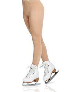 MONDOR 911 Footed Skating Tights w/ RHINESTONES, Caramel (KR) NEW