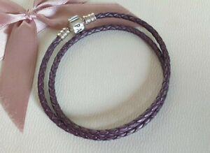 Pandora Lederarmband Armband lila metallic Logoverschluss 37 cm geflochten wNeu