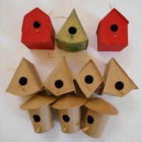 Cardboard Miniature Bird House Craft paper 3 painted 7 unpainted Vintage