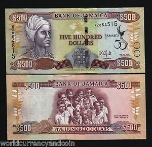 JAMAICA 500 DOLLARS P91 2012 COMMEMORATIVE 50th NANNY UNC CURRENCY BILL BANKNOTE