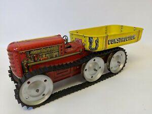 Vintage 50's MARX Tin Wind-up T732 6-Wheel Climbing Tractor Truck Hauler Hauling