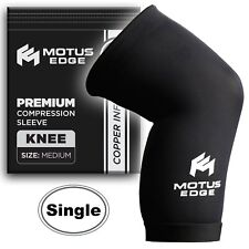 Motus Edge Copper Infused Knee Compression Sleeve - Sports, Pain Relief, Medium