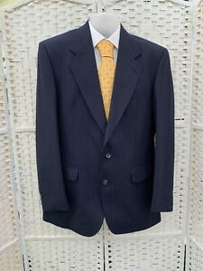 The Label heavy made to Measure Men's VTG wool blue pinstripe suit 40R W34 L30