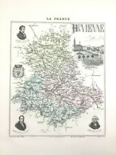 1893 Antique Map of Haute Vienne Limoges France French Department Hand Coloured