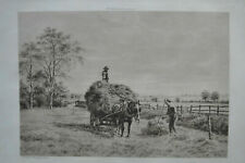 HAY CARTING ORIGINAL ETCHING BY W.A. COX COUNTRY LIFE J.S. VIRTUE