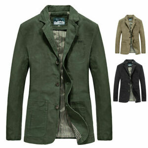New Mens Casual Blazer Long Sleeve Jacket Washed Cotton Blazer Suits Coat