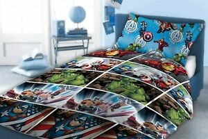 MARVEL AVENGERS KIDS DUVET COVER SET 060 SINGLE & DOUBLE KDIS BEDDING QUILT