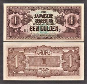 Netherlands Indies WWII Japansche Regeering 1942 One Gulden Pick-123c Crisp UNC