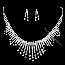 Bridal Wedding Jewelry Prom Rhinestone Crystal Necklace Earrings Set N288