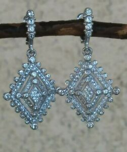 Judith Ripka Sterling With 18k Posts White Sapphire Diamond Shaped Earrings