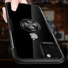 iPhone 11 Case Carbon Fiber Rotation Ring Kickstand Magnetic Clear Crystal Black