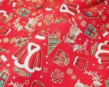 CHRISTMAS FABRIC CHRISTMAS PRESENTS 100% COTTON RED