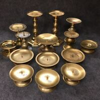 """Lot Of 15 Vintage Solid Brass Candle Holders Reception Wedding 1-1/2-7-1/2"""" #8"""