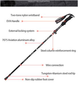 1* Durable Outdoor Hiking Trekking Pole Folding Antishock Walking Stick Portable
