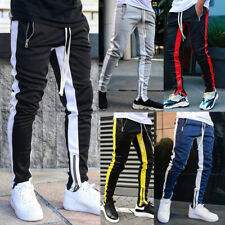 Men's Contrast Sport Pants Zipper Pocket Tracksuit Joggers Trousers Sweatpants