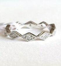 Silver Eternity Ring Band Plated Cubic Zirconia Stackable Vintage Style Size 5