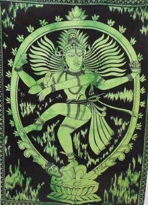 Natraj Shiva Green Tie-Dye Tapestry Poster Wall Hanging Bohemian Home Decor Art