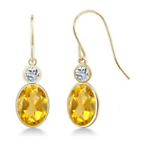 2.78 Ct Oval Yellow Citrine White Topaz 14K Yellow Gold Earrings