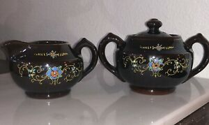 VINTAGE SUGAR & CREAMER BROWN LUSTER BLUE FLOWERS & GOLD TRIM JAPAN