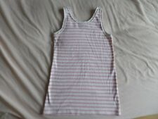 Matalan Pink & White Striped Vest Top 100% Cotton 12-13 Years