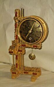 RARE GERMAN VINTAGE HEAVY BRONZE CAST BRUTALIST MANTLE CLOCK MID CENTURY 8-DAY