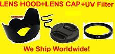 FLOWER HOOD+UV FILTER+LENS CAP 58mm AptTo OLYMPUS E-500 510 410 300 330 1